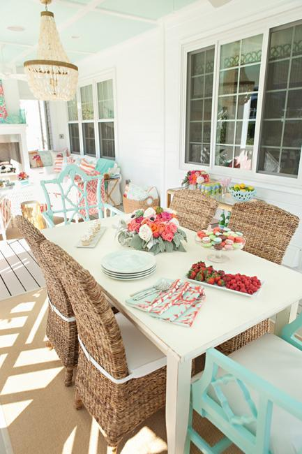 Outdoor Home Decorating Ideas Light Blue And Pink Color Combination