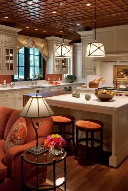 Dark Ceiling Designs In Modern Kitchens And Bathroom Interiors