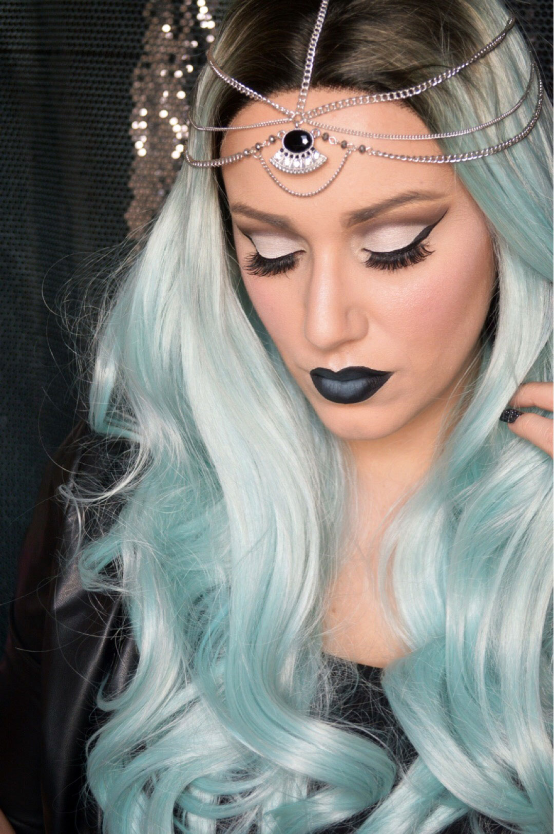 Fortune Teller Lush Wigs Green Black Torquoise Lace