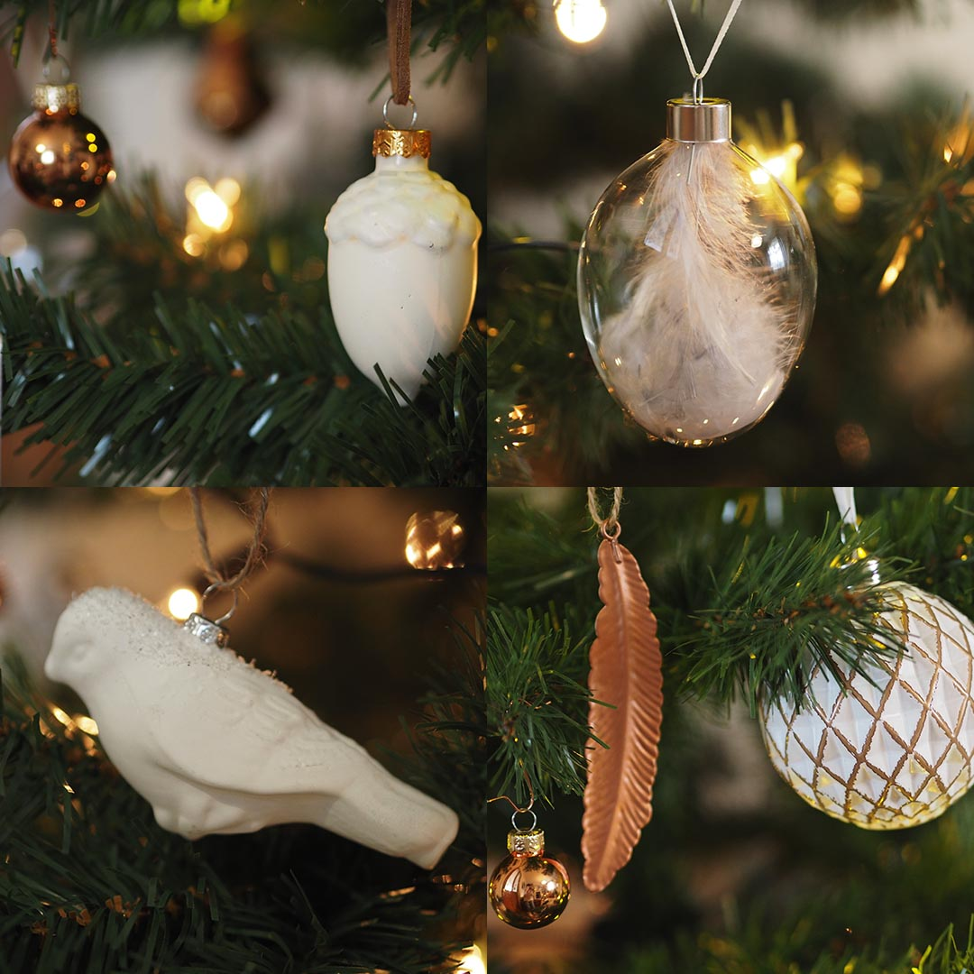 white and copper christmas decorations