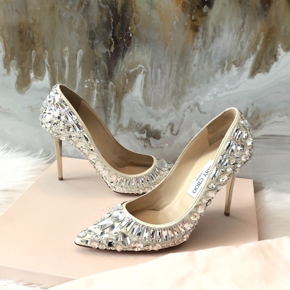 Jimmy Choo Tia Rhinestone Crystal Heels