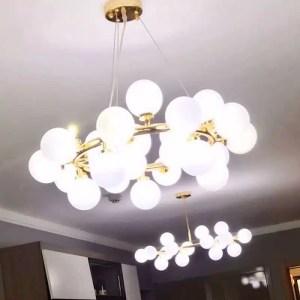 Lustre cercle doré 25 ampoules
