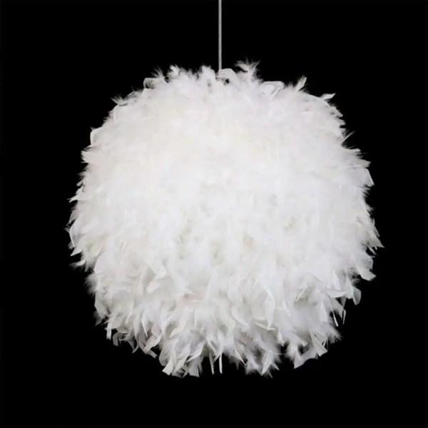 Lustre boule à plume blanche