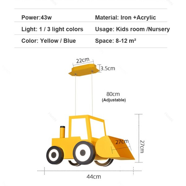 Lustre bulldozer jaune