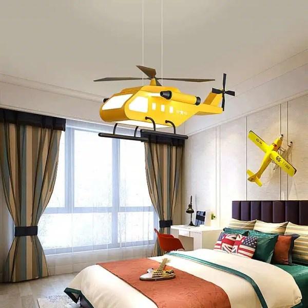 Lustre hélicoptère militaire jaune