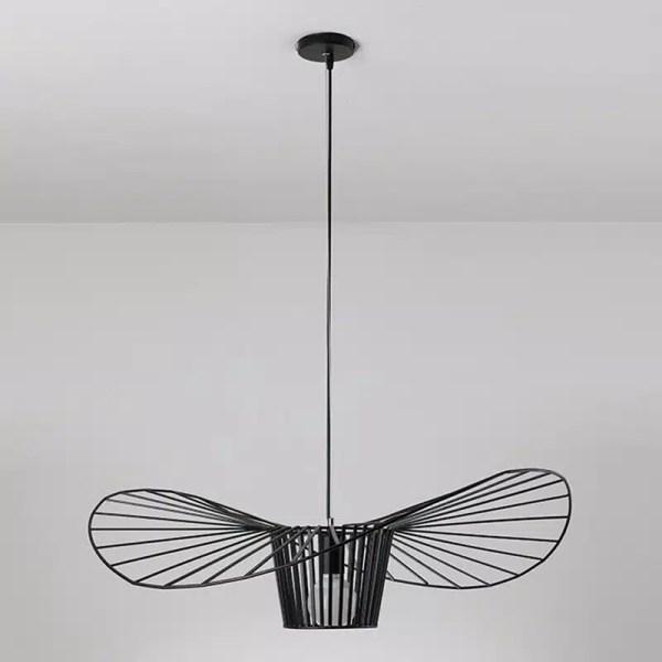 Lustre chapeau de paille métallique noir