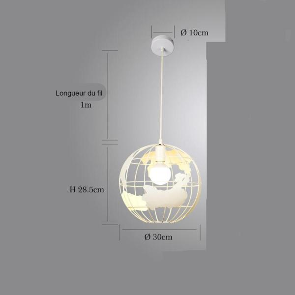 Lustre globe terrestre blanc dimension 30 cm