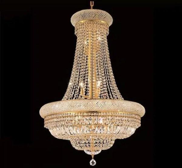 Lustre montgolfière cristal doré