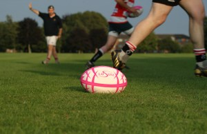 Lusum Aquilifer Rugby Ball on pitch