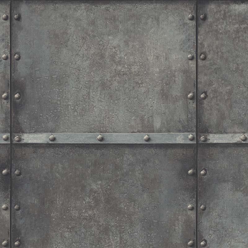 papier peint acier rivet gris fonce