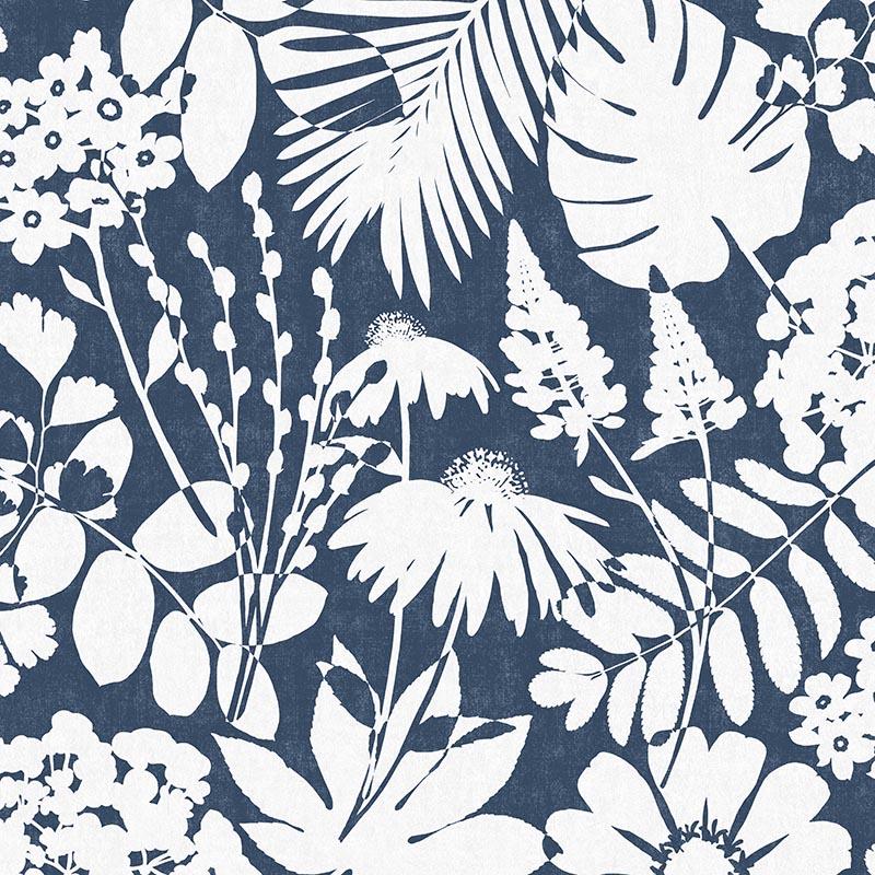 papier peint parseme floral bleu et