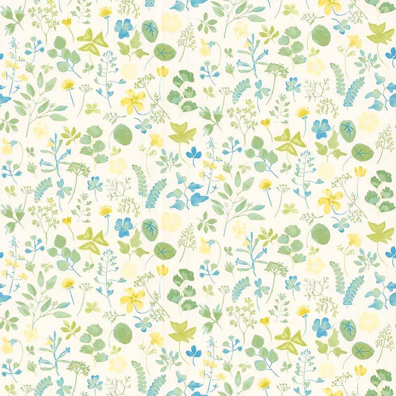 papier peint champetre jaune bleu