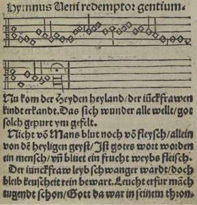"""Nun komm, der Heiden Heiland,"" melody and first three stanzas, as they appear in the Erfurt Enchiridion, 1524"