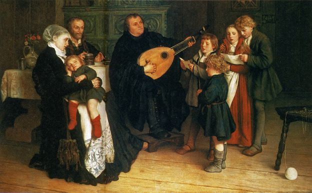 Luther making music with his household