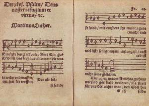 """Ein feste Burg"" as it appears in Joseph Klug, ""Geistliche Lieder auffs new gebessert,"" Wittenberg, 1533."