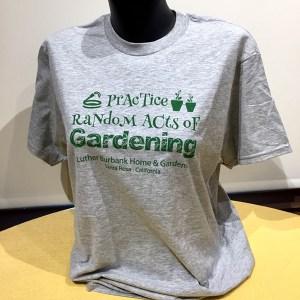 """""""Practice Random Acts of Gardening"""" adult tee-shirt."""