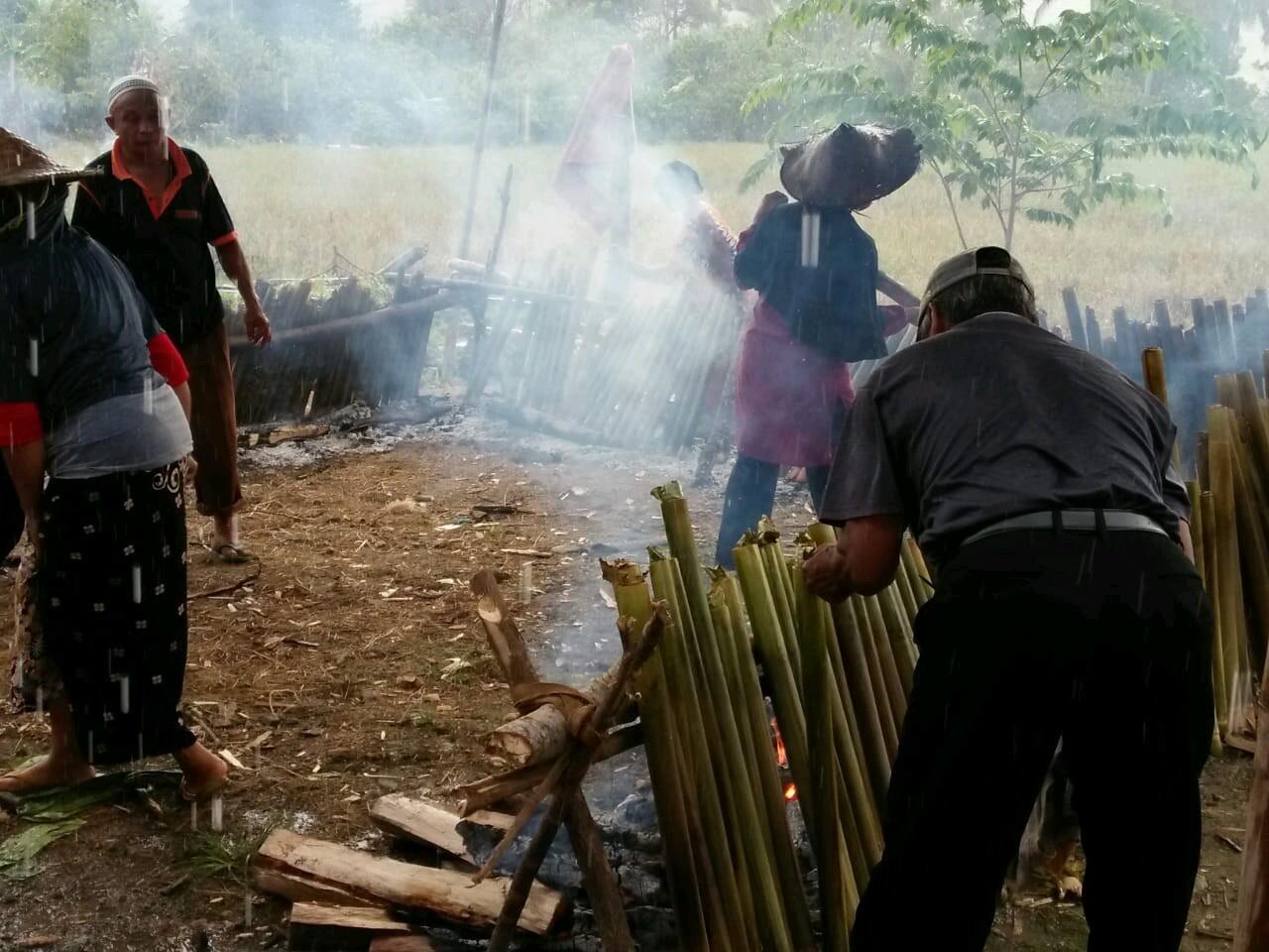 Suasana Pembakaran 1000 Batang Bambu Pewong dalam Acara Pesta Panen Padungku di Desa Manurung, Kec. Malili Kabupaten Luwu Timur