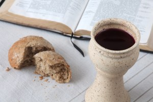 Bread and wine on the communion table
