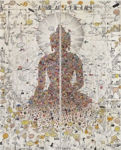 Gonkar Gyatso, born Lhasa 1961 Dissected Buddha Tibet, 2013 Collage, stickers, pencil and colored pencil and acrylic on paper 9 ft. 2 1/4 in. × 90 1/2 in. (280 × 229.9 cm) Promised Gift of Margaret Scott and David Teplitzky © Gonkar Gyatso