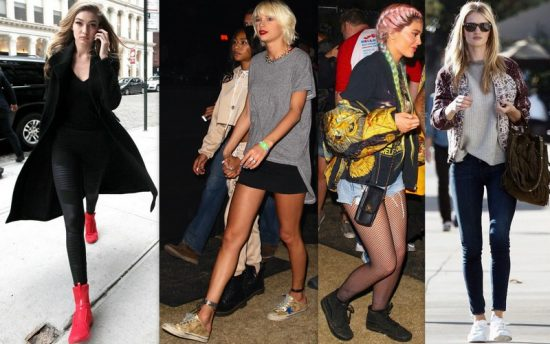 Le sneakers preferite dalle star: da sinistra, Gigi Hadid (Puma Fierce), la cantante Taylor Swift (Golden Goose Deluxe brand), Kylie Jenner (Vans) e Rosie Huntington-Whiteley (Saint Laurent)