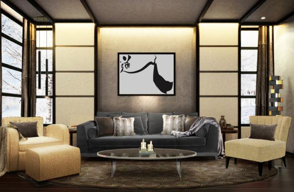Salon Japonais Moderne Excellent Fumat Pendentif En Bois