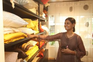 Nandita Das, checking out the collection at the store
