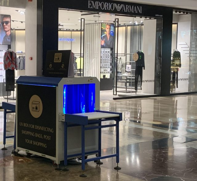 UV box to sanitise shopping bags after shopping, which is mandatory