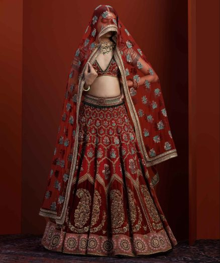 Red fully embroidered lehenga