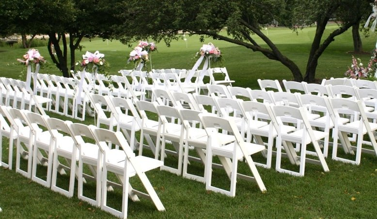 white resin folding chair - luxe event rental