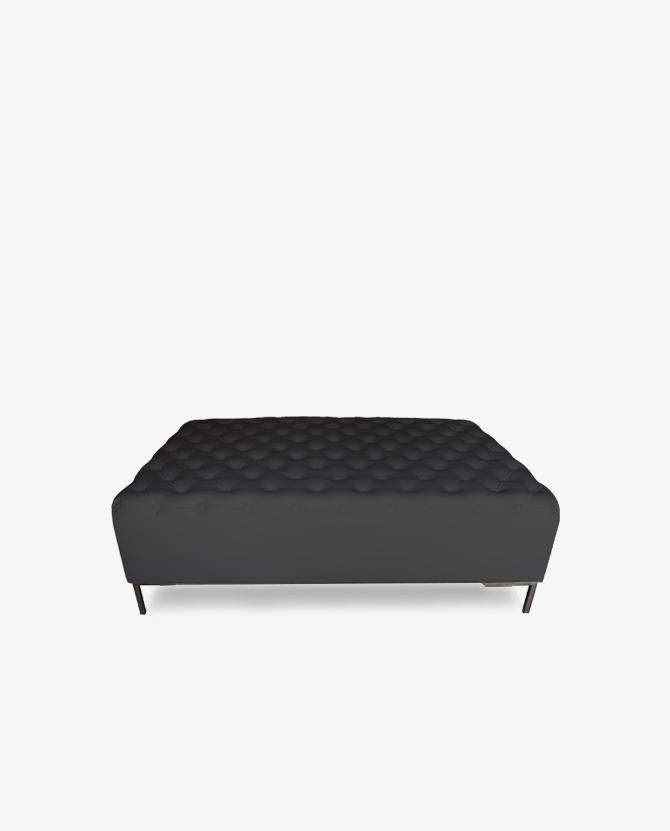 Luxe Black Tufted Ottoman - Luxe Black Tufted Ottoman - Luxe Event Rental