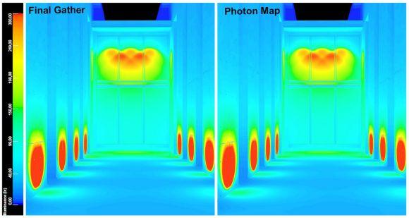 Simulazione della luce artificiale con 3DsMax falsi colori