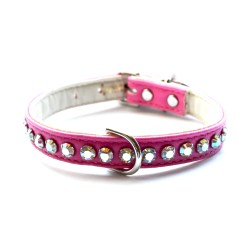 Ashley Designer Crystal Hot Pink Dog Collar