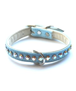 Jackie O Dog Collar Blue