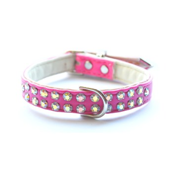 Double Row Dog Collars Hot Pink