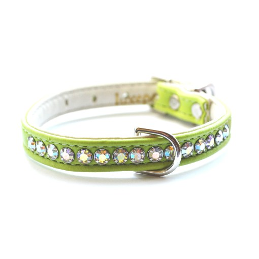 Jackie O Designer Crystal Dog Collar Lime