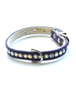 Jackie O Designer Crystal Dog Collar Purple