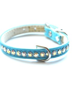 designer dog crystal collar teal