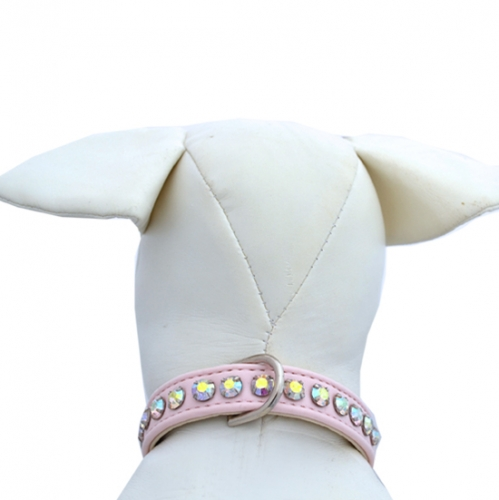 Ashley Designer Pink Dog Collar with Crystals