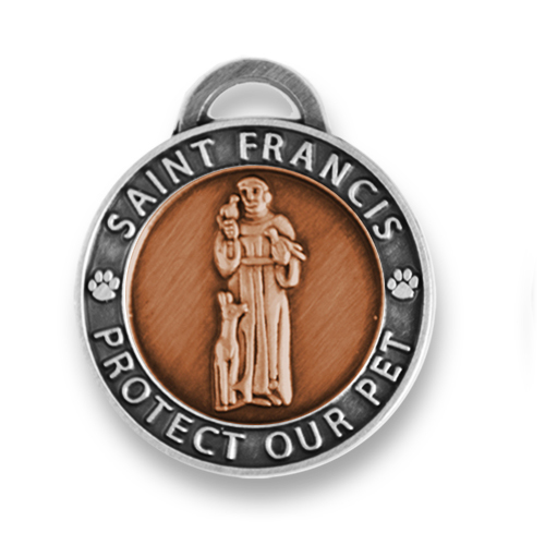 St Francis Pet Tag / Pet Charm Small Two Tone
