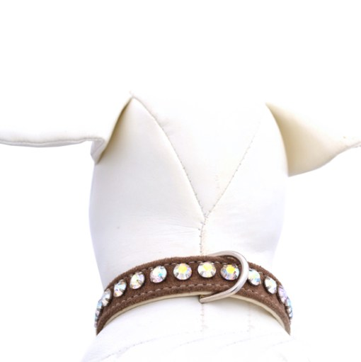 Ashley Ultrasuede Camel Designer Dog Collar