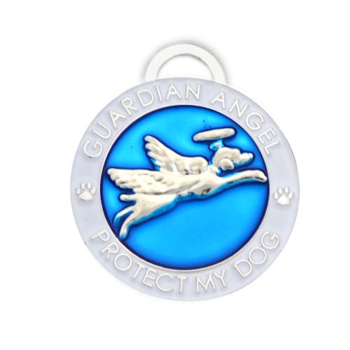Guardian Angel Dog Blue Pet Charm