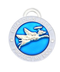 Guardian Angel Dog Pet Charm in Blue