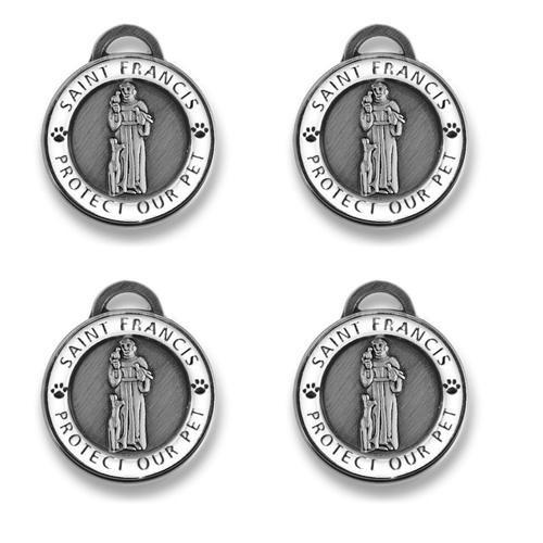4 pack Antique Silver St Francis | White Enamel Holiday Bundle