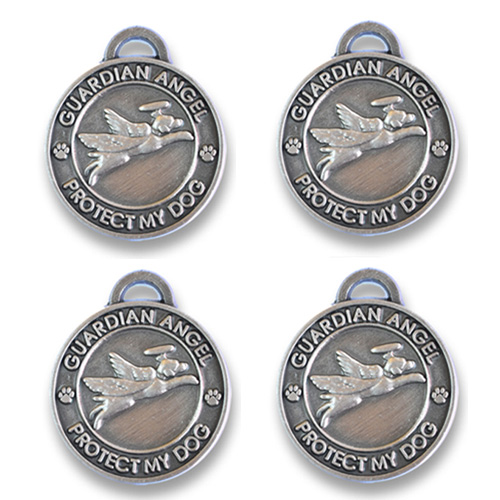 4 pack Guardian Angel Dog  Antique Silver Holiday Bundle