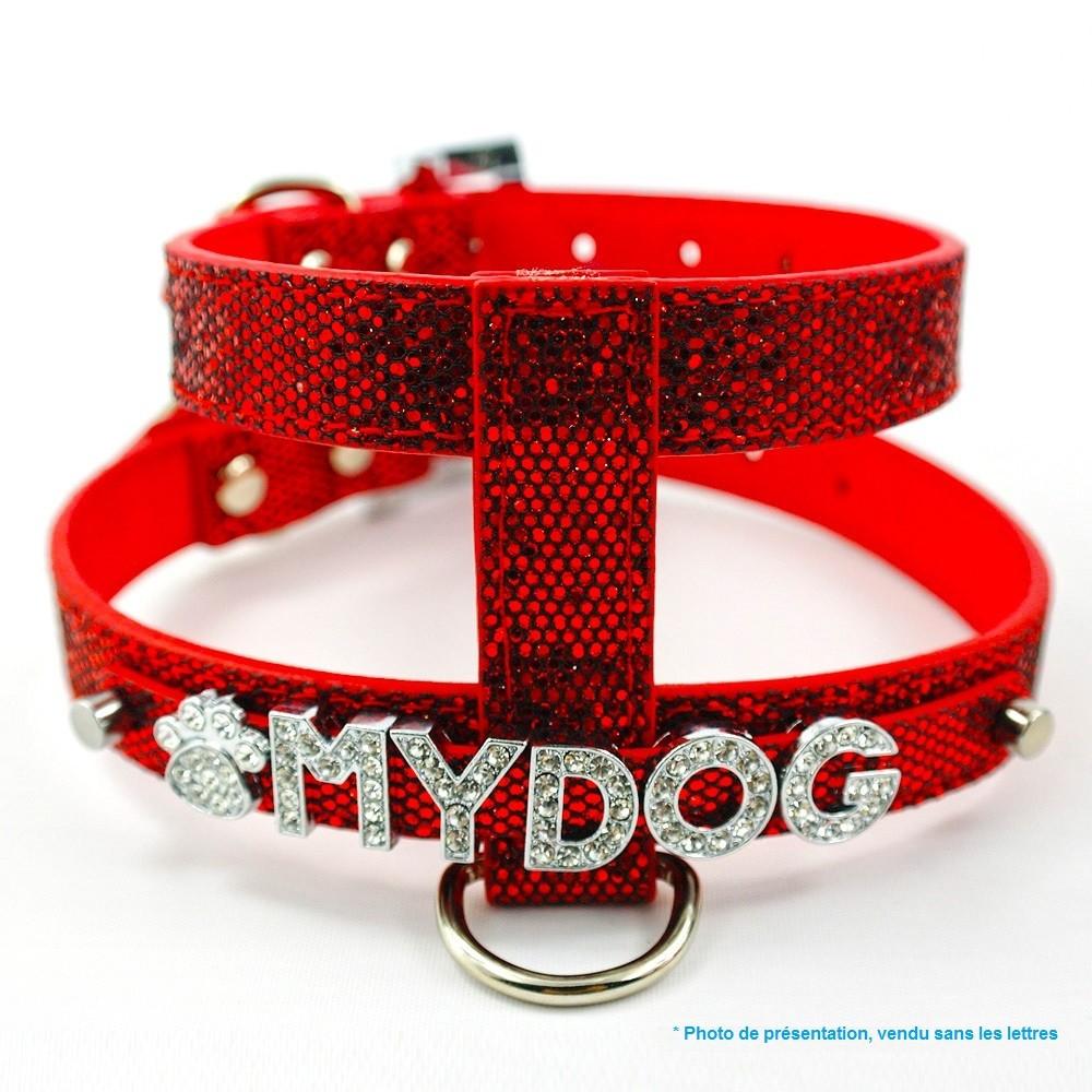 harnais pour chien paillete rouge brillant