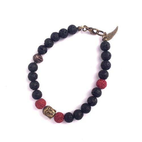 Black Lava Men's Bracelet