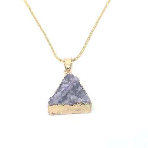 Purple Druzy Quartz Crystal Necklace