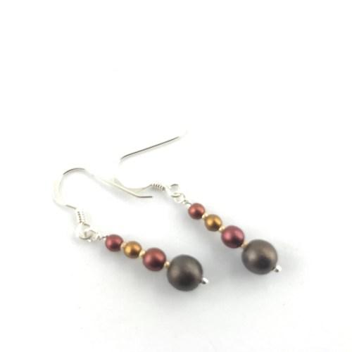 Czech Druk crystal necklace and earrings jewellery set