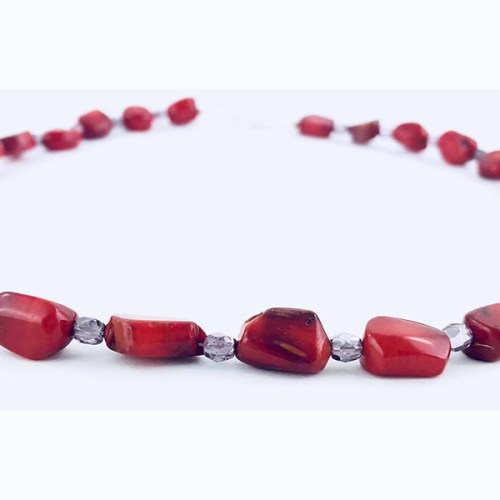 Red Coral & Crystal Necklace