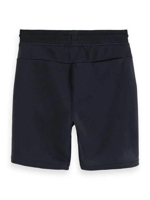 Comfortable cotton blend sweat shorts for men featuring elastic waistband with drawstring medium length and side pockets. Scotch & Soda branding detail on the leg.